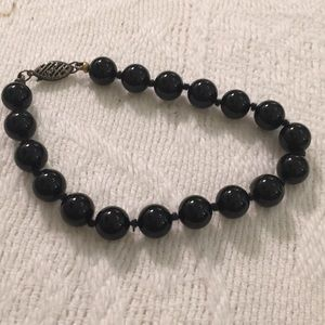 Onyx hand knitted bead bracelet. Vintage perfect
